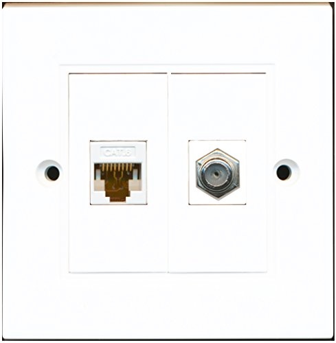 Decorator 1 Jack Single Gang (RiteAV, 1 Port Koaxialkabel F-Type Accessoires, CAT6, Ethernet, 1 Port, weiße Wandplatte)