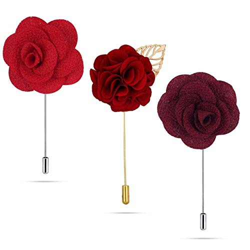Panjatan Men's Fabric Flowers and Marigold Lapel Pin Brooches Combo by WI Retail