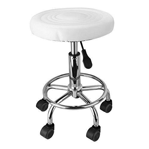 Bar-stuhl-seat-kissen (Ridgeyard Runde Salon Massage Stuhl verstellbar Swivel hydraulischen Aufzug Hocker Bar Hocker Tattoo Spa Möbel weiß)
