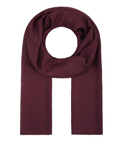 Majea Tuch Lima schmal geschnittenes Damen-Halstuch leicht uni einfarbig dünn unifarben Schal weich Sommerschal Übergangsschal (weinrot)