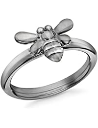 Tuscany Silver Rhodium Plated Oxid Black Crystals Bee Ring