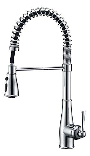 PureLux Knight Single Griff modernes Design Pull Down Küchenarmatur mit Sprayer, in Chrom, Nickel gebürstet oder oil-rubbed Bronze Finish KnightPro - Chrome -