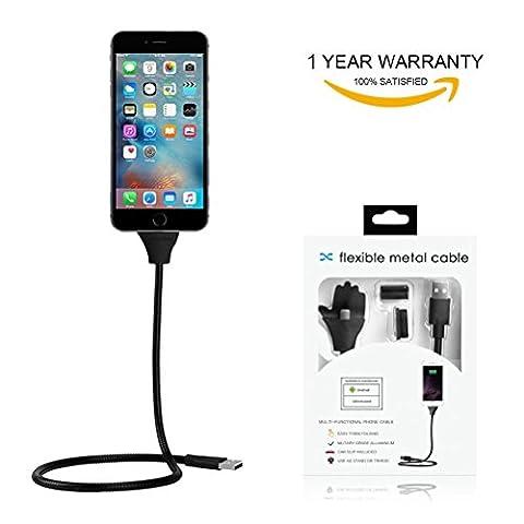 Tmalltide 2en 1Lazy Bracket Palms en métal en forme Flexible Micro USB Câble de chargement 2,5A chargeur rapide avec support à téléphone portable support Desk Voiture Support pour iPhone iPad