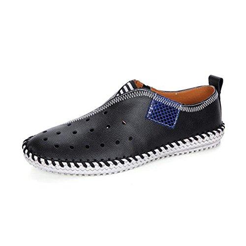 HUAN Hommes Chaussures en Cuir Printemps Eté Automne Confort Mocassins & Slip-Ons Pour Athlétique Décontracté Extérieure Noir Blanc Jaune, Black