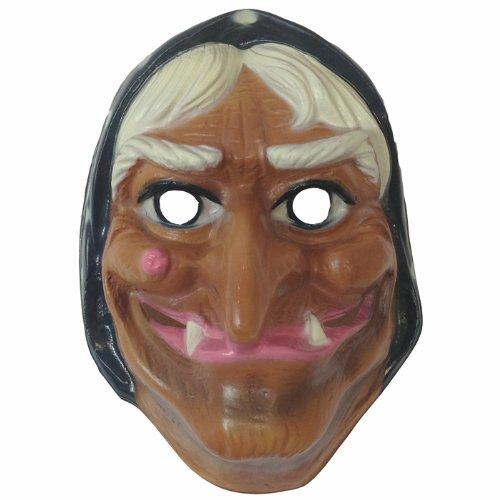 (PARTY DISCOUNT NEU Maske Hexe mit Kopftuch, Hartplastik)