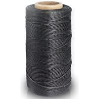 GEWA chste cuerda, 150d 0.8mm cuerda encerada piel Sewing Stitching plano Cera cuerda para hilos (150d 0.8mm 260m) 021# hellschwarz