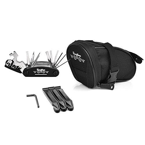 WOTOW Fahrrad-Satteltasche Rahmentasche Fahrradtasche Oberrohrtasche Fahrrad Rahmentaschen Fahrrad Tasche Mountainbike Bag Satteltasche mit Reflektierstreifen, Schwarz (16-in-1-Sechskantschlüssel-Set) -
