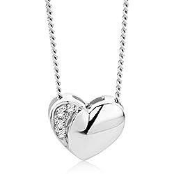 Orovi Bijoux Femme, Collier Coeur en Or Blanc avec Diamants 0.02 Ct coupé Brillant 18 kt /750 Or Chaîne 45 Cm