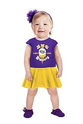NCAA Lsu Tigers Girls Toddler Short Sleeve Full Skirt Dress, 3 Tall, Purple