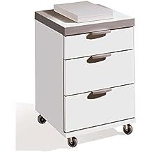 Buck cajonera con ruedas color blanco brillo, 3 cajones con guías metálicas, para mesa escritorio de oficina, despacho o estudio. Tapa gruesa 35MM. 58cm altura x 41cm ancho x 40cm fondo