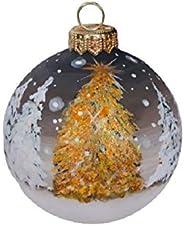 Palla di Natale con Neve - Paesaggio Natalizio - Dipinta a Mano in Ceramica - con Glitter Oro e cristalli Arge