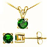 Stunning 9 ct Gold Ladies Solitaire Earrings + Pendant with green Chrome Diopside 0.72 Carat - 45cm*9mm*5mm