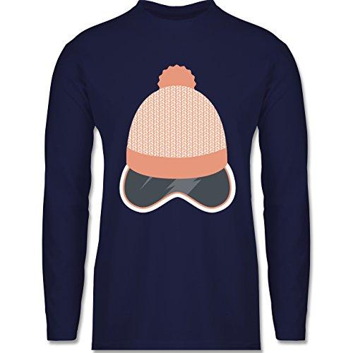 Après Ski - Ski Snowboard Brille Mütze - Longsleeve / langärmeliges T-Shirt für Herren Navy Blau