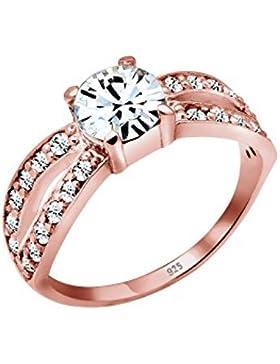 Elli Premium Damen-Ring Swarovski 925 Silber Kristall gold Brillantschliff - 0605172015