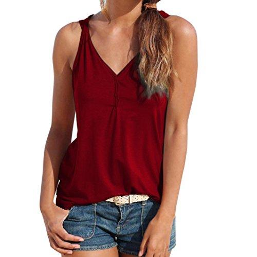 OYSOHE Damen Knopfweste Womens Sommer Riemchen Weste Top Ärmelloses Shirt Bluse Casual Tank Tops (L, Weinrot)