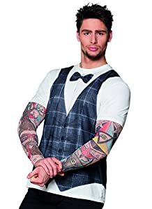 Camiseta fotorealistica Hipster con manga efecto Tattoo XL blanco y negro