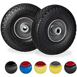 Relaxdays Roue de diable Set de 2 roue de brouette 20mm, roue complète axe, 3.00-4 essieu 150 kg, 260x85 mm, noir-gris