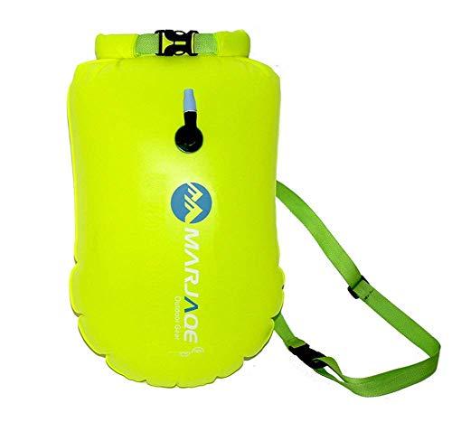Fish Schwimmboje - Schwimmschwimmer und Trockentasche für Freiwasserschwimmer und Triathleten - Leichter und sichtbarer Schwimmschwimmer für sicheres Training und Rennen - grünes PVC -