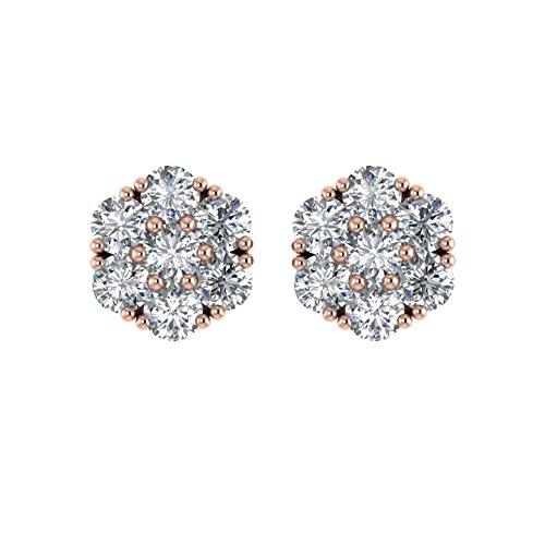 Diamant Delight Veste de 10K boucles d'oreille Clous en forme de fleur (I1-I2, 11/4carat)