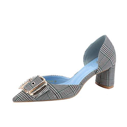 Frauen Schnalle Schuhe Sexy Chunky Heels Spitz D-Orsay Hochzeitsschuhe Weibliche Pumps -