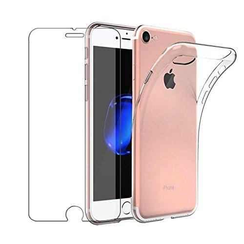 Cover iPhone 6 / iPhone 6s Custodia + Pellicola Protettiva in Vetro Temperato , Leathlux Morbido Trasparente Silicone Custodie Protettivo TPU Gel Sottile Cover per Apple iPhone 6S / 6 4.7'