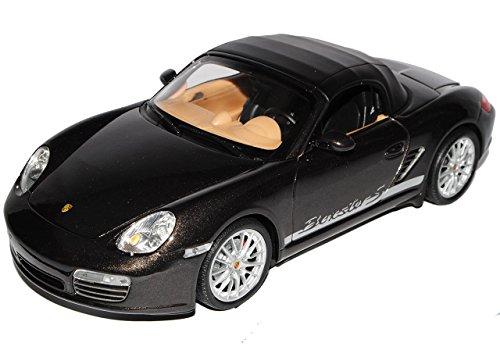 Porsche Boxster S 987 Cabrio Soft Top Braun Schwarz 2004-2012 1/18 Welly Modell Auto mit individiuellem Wunschkennzeichen (Porsche Boxster Roadster)