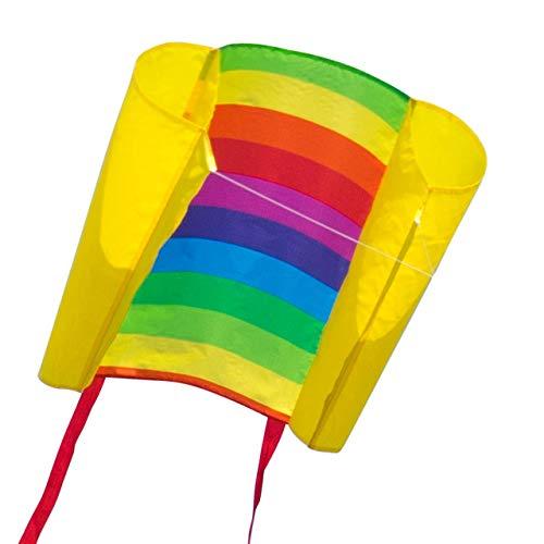 CIM Kinder-Drachen - Beach Kite Rainbow - Einleiner-Flugdrachen für Kinder ab 6 Jahren - 74x47cm - inkl. 40m Drachenschnur und Streifenschwänze