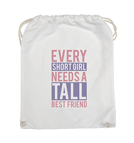 Comedy Bags - Every short girl needs a tall best friend - Turnbeutel - 37x46cm - Farbe: Weiss / Rosa-Violet (Shorts Fit Baumwolle Custom)