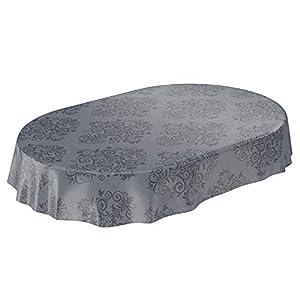 ANRO Wachstuchtischdecke Wachstuch Wachstischdecke Tischdecke abwaschbar Grau Anthrazit Rankenmuster Barock Arabeske Oval 180 x 140cm, 140 x 180cm