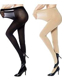 ayushicreationa Women High Waist skin Stockings Super Fine Fiber Excellent Stretch Sheer Tights Long Comfort Super Soft Pantyhose Skin/Beigh (rapidwomen-stocking-1, Black and Beige, Free Size)