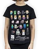 Minecraft - Camiseta de manga corta oficial modelo Sprites para niñas (Años (9-10)/Multicolor)