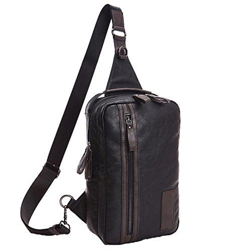 Unisex Beiläufige Große Kapazitäts-Unsymmetrie Gym Rucksack Brusttaschen Körpertasche Blau Black