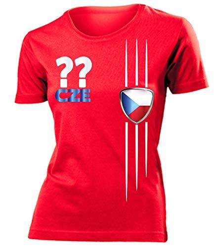 Tschechien Czech Republic Czechia Wunsch Zahl ohne Name Fan t Shirt Artikel 3335 Fuss Ball EM 2020 WM 2022 Trikot Look Flagge Frauen Damen Mädchen L