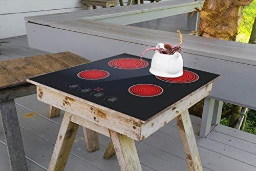Wallario Aufkleber Selbstklebende Garten-Tisch-Decke - Aktives Cerankochfeld Induktionskochfeld Optik - Standard schwarz rot mit 4 Kochplatten und Bedienf in 100 x 100 cm