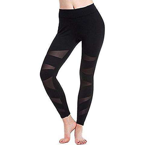 Sport pantalones de yoga, ✽Internet✽ de las mujeres Paneles de malla elástica gimnasia de los deportes de las polainas de los pantalones de yoga