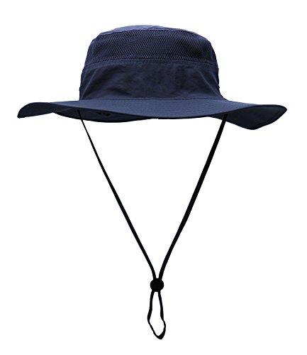 Sombrero con cordón de barbilla, para usar al aire libre, para pesca, versátil, protector solar, con corona redonda y ala levantada, para playa, mujer hombre, color azul marino, tamaño talla única