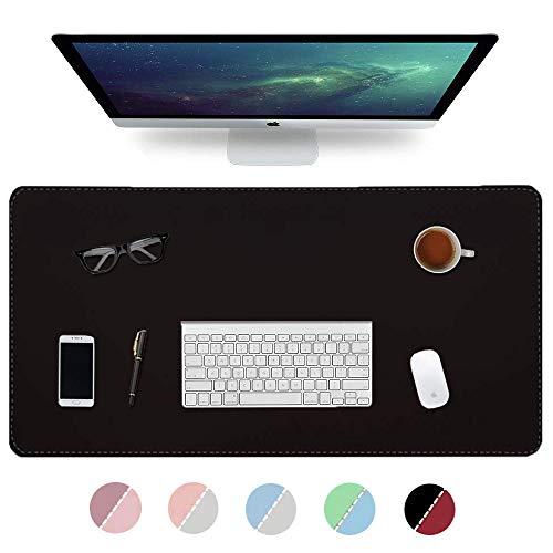 Multifunktionale Schreibtischunterlage, 2020 Nähen Desktop Schreibblock, 900 * 400 * 2mm Büro wasserdicht Anti-Rutsch-Office-Pad Doppelseite PU Leder Büro (Schwarz/Rot)
