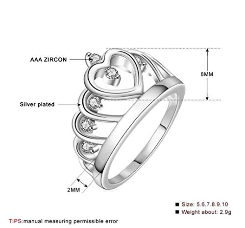 ess Crown Ring Weißbeschichteter Versilberter Ringschmuck, Zirkon, Damen, Retro-Stil, Flacher Ring, Krallen-Set, Bankett, Kyra015, Transparent Platin, US 8 ()