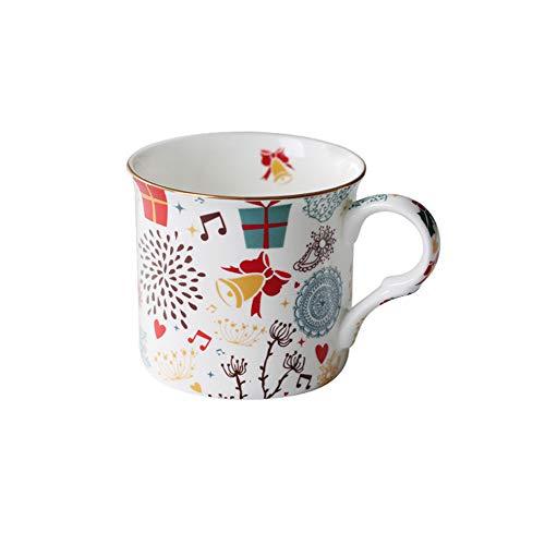 Munxag 24K Handgemalte Weihnachtsgeschenkschale Golden Elk Becher Kaffeetasse Bell Klingeln