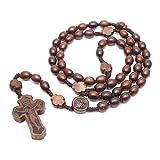 Kafen - Collar de Madera con Rosario con Colgante de Cruz y Perlas Redondas a Mano, Collar católico para Hombres y Mujeres