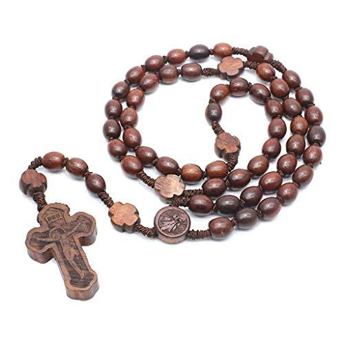 Jenor Rosenkranz-Halsketten aus Holz, religiös, handgefertigt, runde Perlen, katholische Halskette für Männer und Frauen