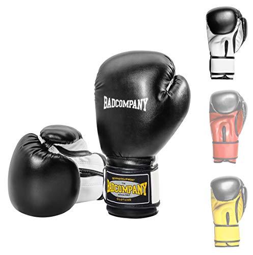 Bad Company Boxhandschuhe White Tiger aus Kunstleder mit Belüftungssystem und breiter Box-Bandage mit Klettverschluss in verschiedenen Farbkombinationen für das Boxtraining, Sparring und Kickboxen I Gewichtsklassen 12 oz