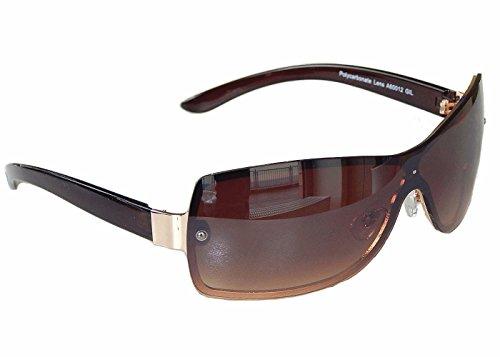 Sonnenbrille Aviator Brille MonoglasSportlicher Style Damen Herren M 35 (Braun Gold)