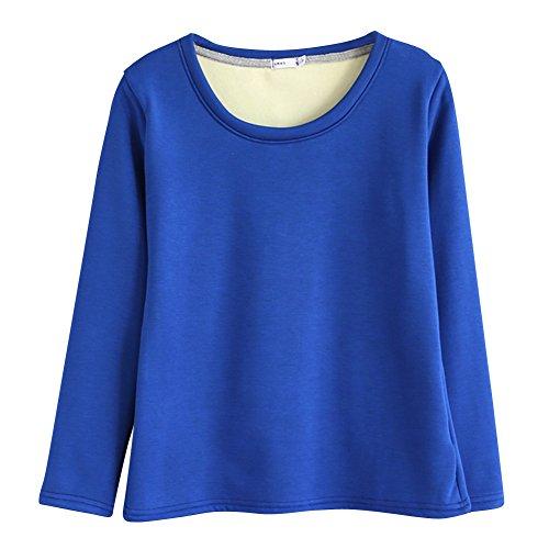 Camicia da Donna Blouse a Maniche Lunghe con Girocollo Vello Addensare Pullover Blu zaffiro