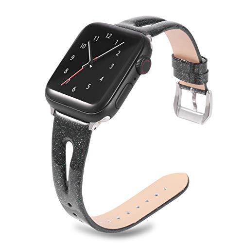 WAOTIER für Apple Watch 44mm Armband Leder Ersatzarmband Glitzer Sequin Armband für Apple Watch Series 4 mit Metall Verschluss Slim Armband Kompatibel für iWatch 44mm für Frauen Männer (Schwarz)