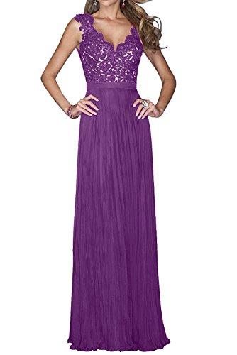 Toscane mariée magie armlos chiffon avec dentelle tuell abendkleider cocktail party ballkleider long Violett01