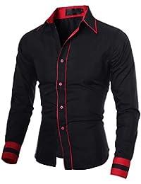 25037a1ae88 Homme Chic Chemises habillées de Loisirs du Sport Manches Longues Couleurs  contrastées ...
