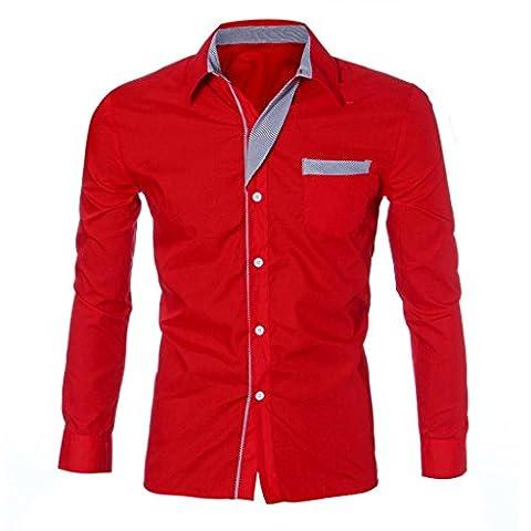 Herren Hemd,Sannysis Herren Langarm T-shirt Casual Slim Hemden Bluse (M, Rot)