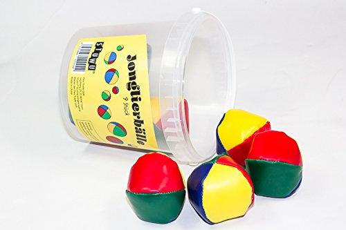 9 Stück farbige Jonglierbälle im Geschenkeimer STUWU®