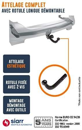 SIARR - Attelage pour PEUGEOT 308 - choix du faisceau electrique peugeot: Sans faisceau - Rotule col de cygne